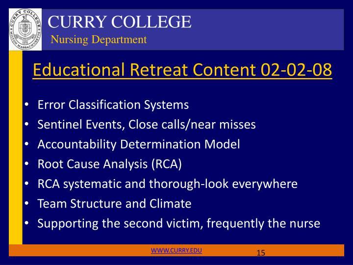 Educational Retreat Content 02-02-08