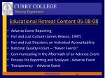 educational retreat content 05 08 08