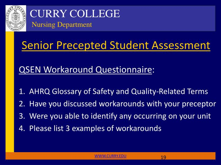 Senior Precepted Student Assessment