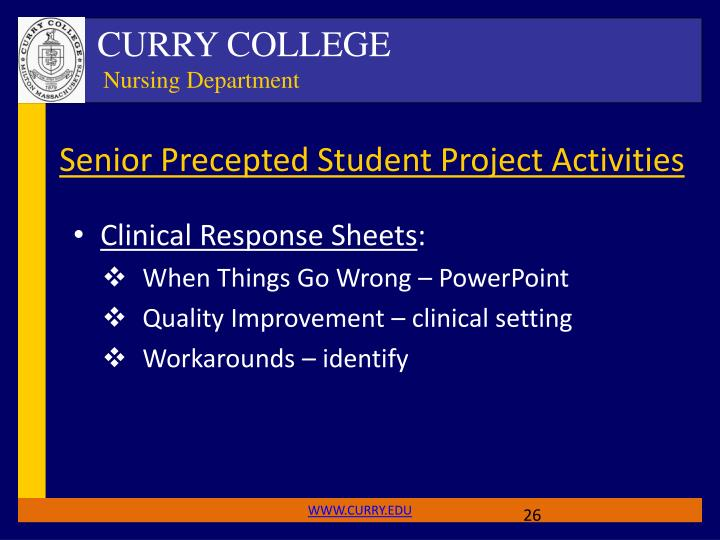 Senior Precepted Student Project Activities