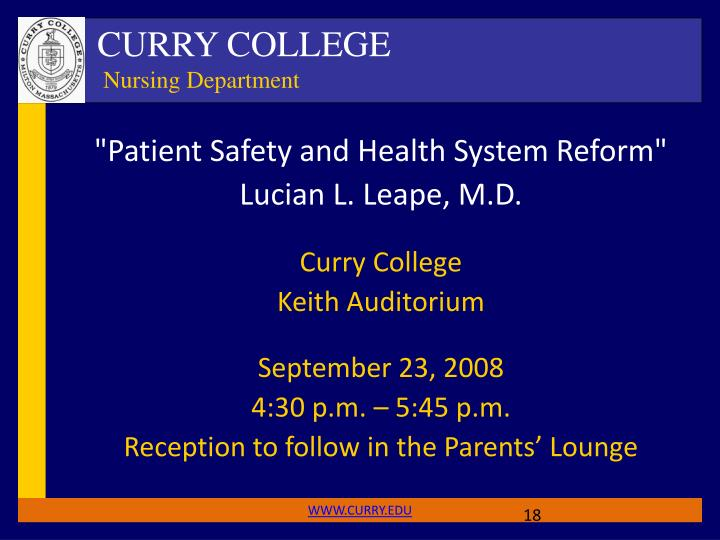 """""""Patient Safety and Health System Reform"""""""