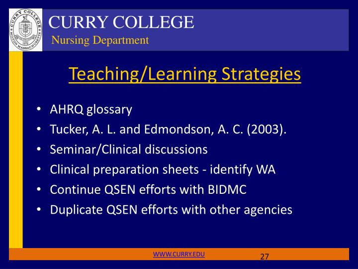 Teaching/Learning Strategies