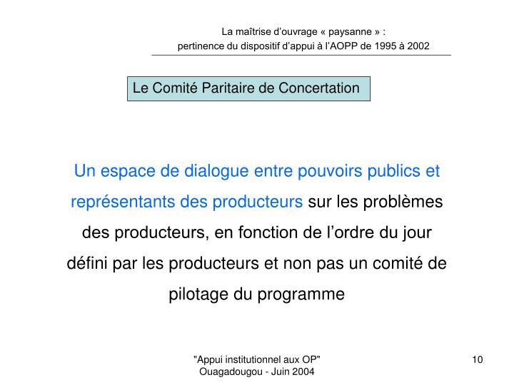 Le Comité Paritaire de Concertation