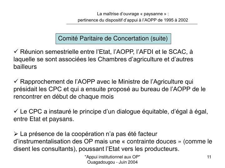 Comité Paritaire de Concertation (suite)