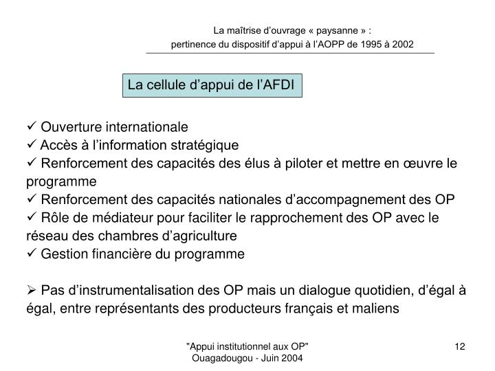 La cellule d'appui de l'AFDI