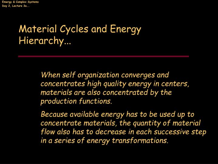 Material Cycles and Energy Hierarchy...