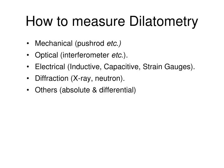 How to measure Dilatometry
