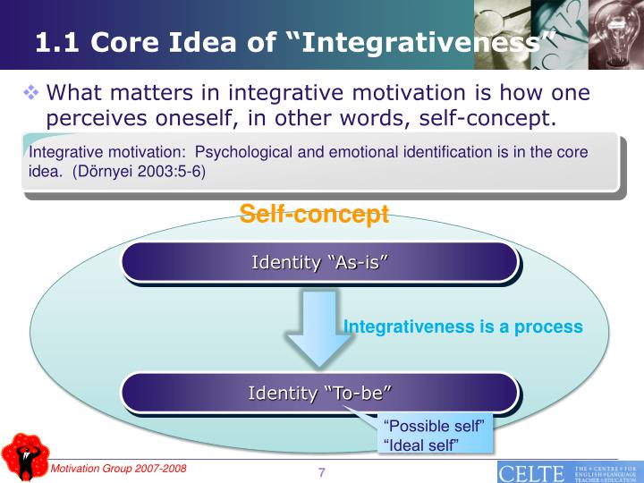 Integrative motivation:  Psychological and emotional identification is in the core idea.  (