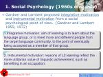 1 social psychology 1960s onwards