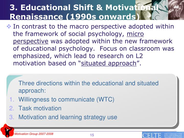 Three directions within the educational and situated approach: