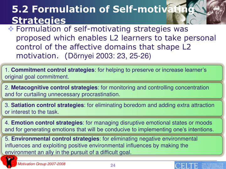 5.2 Formulation of Self-motivating Strategies