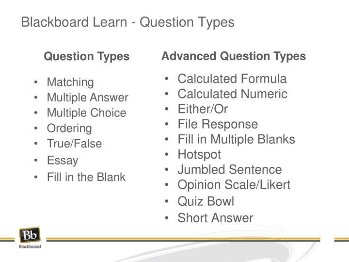Blackboard Learn - Question Types