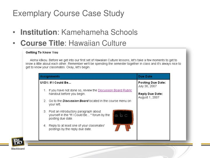 Exemplary Course Case Study