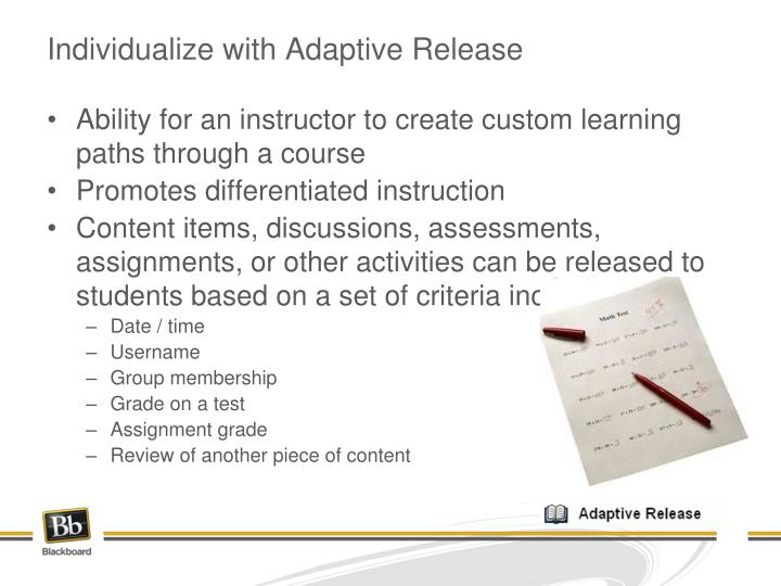 Individualize with Adaptive Release