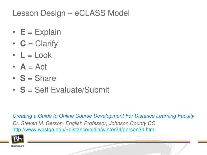 Lesson Design – eCLASS Model