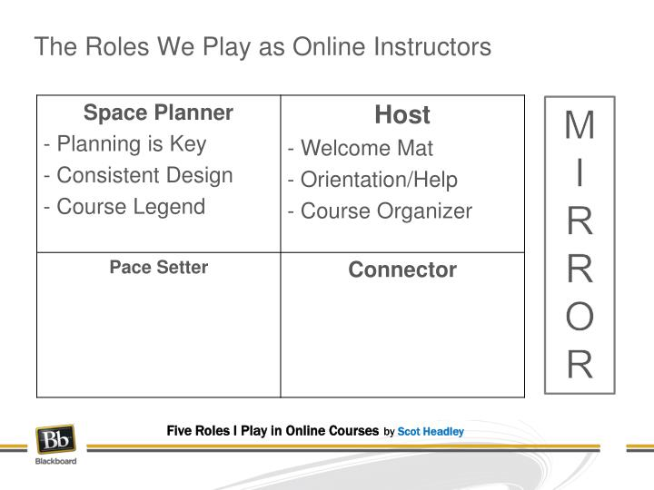 The Roles We Play as Online Instructors