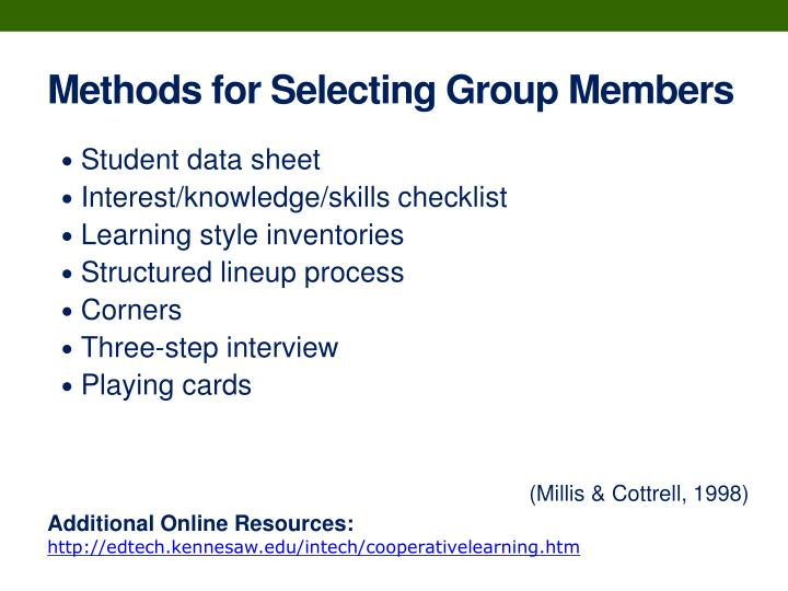 Methods for Selecting Group Members