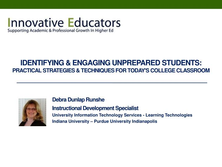 Identifying & Engaging Unprepared Students