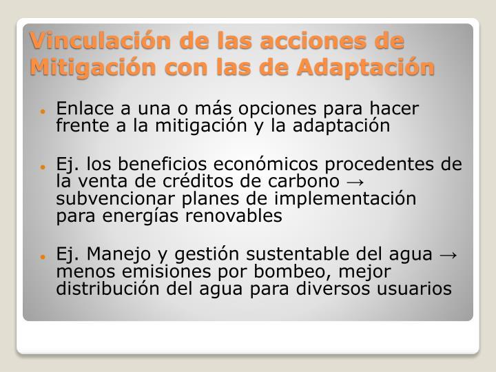 Enlace a una o más opciones para hacer frente a la mitigación y la adaptación