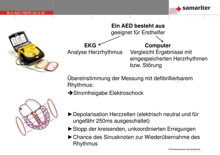 Ein AED besteht aus
