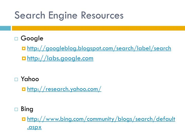 Search Engine Resources
