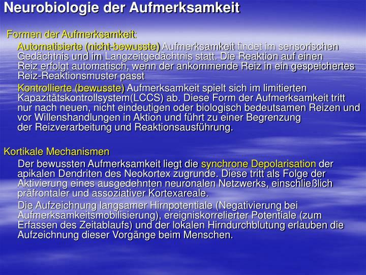 Neurobiologie der Aufmerksamkeit