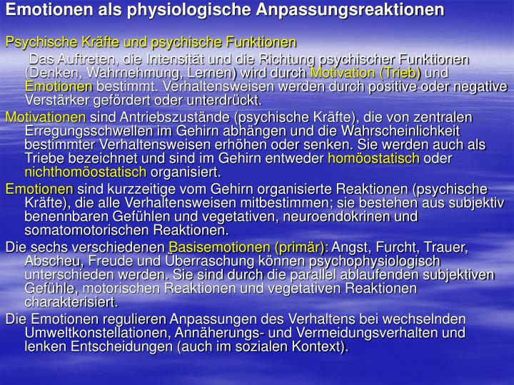 Emotionen als physiologische Anpassungsreaktionen