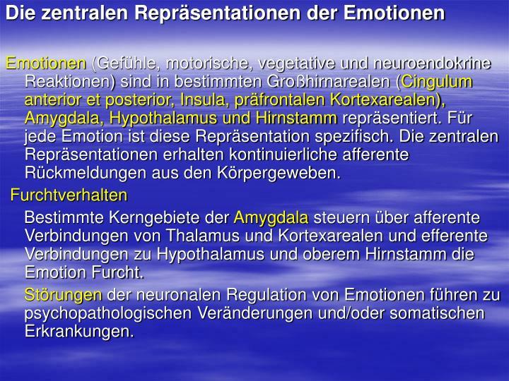 Die zentralen Repräsentationen der Emotionen