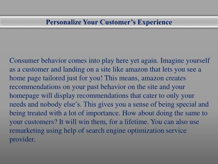 Personalize Your Customer's Experience