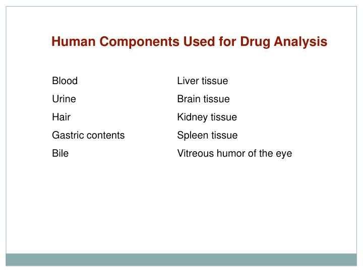 Human Components Used for Drug Analysis