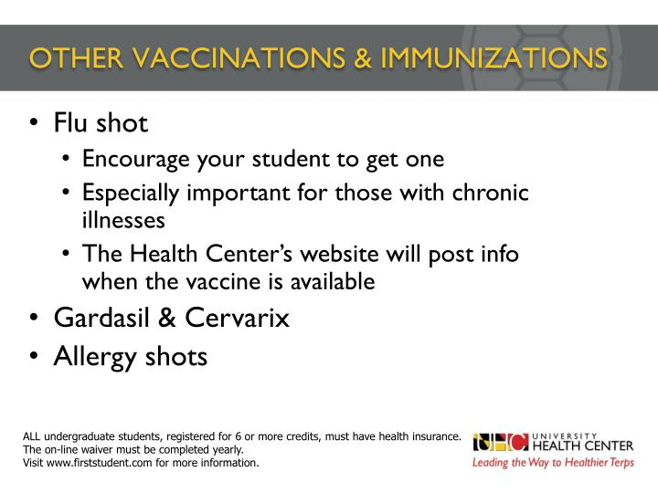 OTHER VACCINATIONS & IMMUNIZATIONS