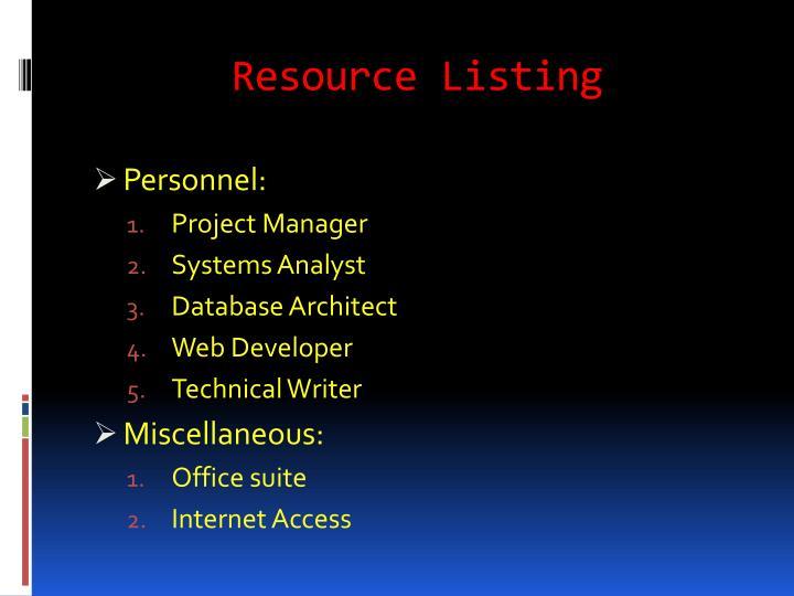 Resource Listing