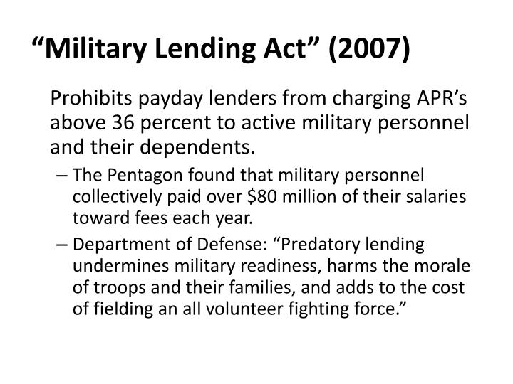 """Military Lending Act"" (2007)"