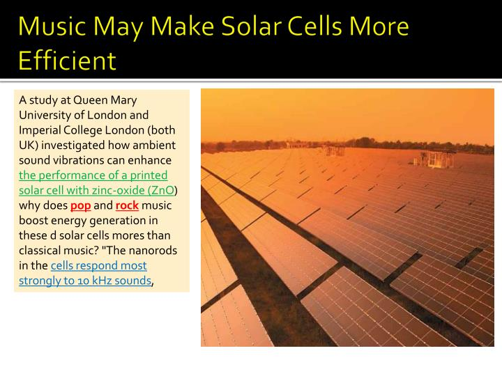Music May Make Solar Cells More Efficient