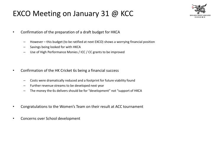EXCO Meeting on January 31 @ KCC