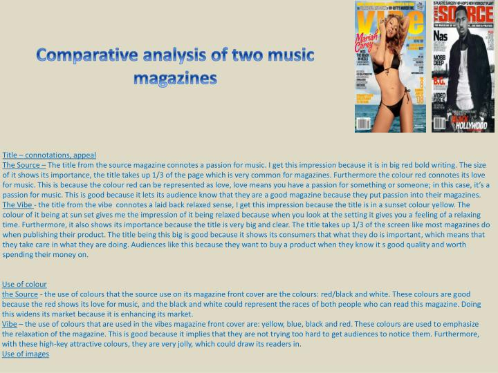 Comparative analysis of two music magazines