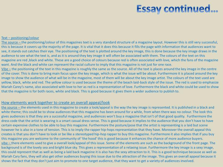 Essay continued…