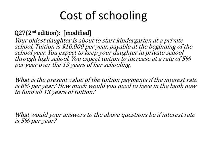Cost of schooling