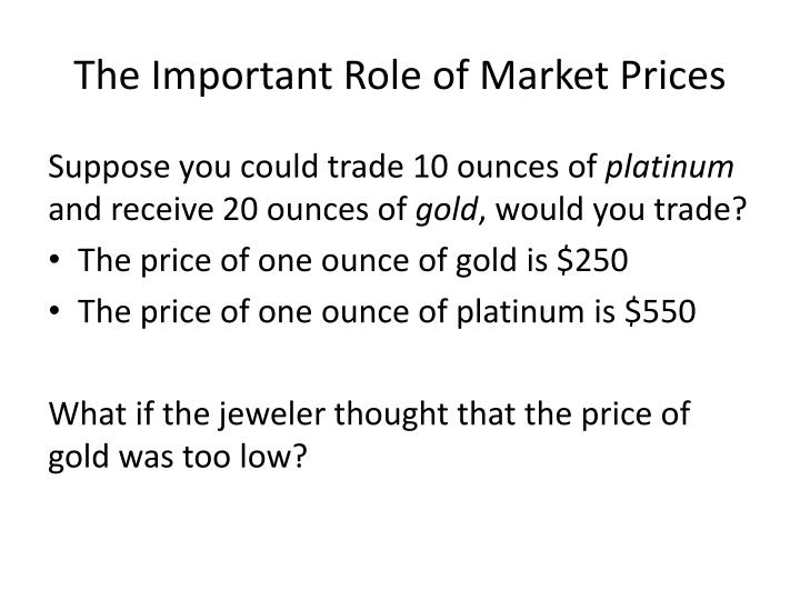 The Important Role of Market Prices
