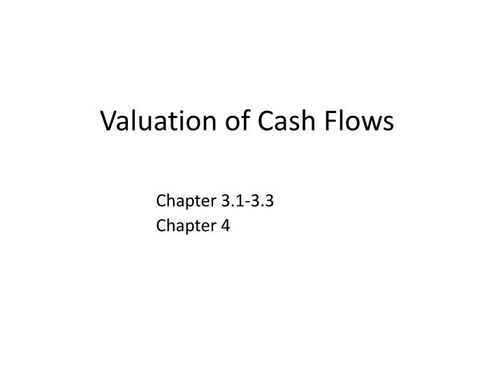 Valuation of cash flows