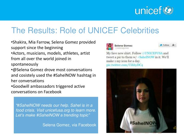 The Results: Role of UNICEF Celebrities