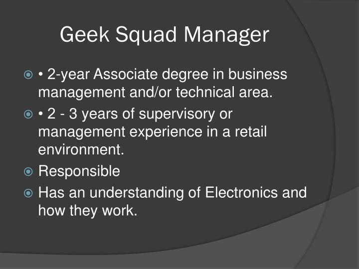 Geek Squad Manager