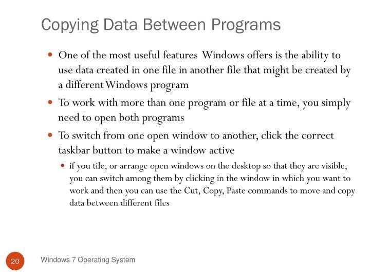 Copying Data Between Programs