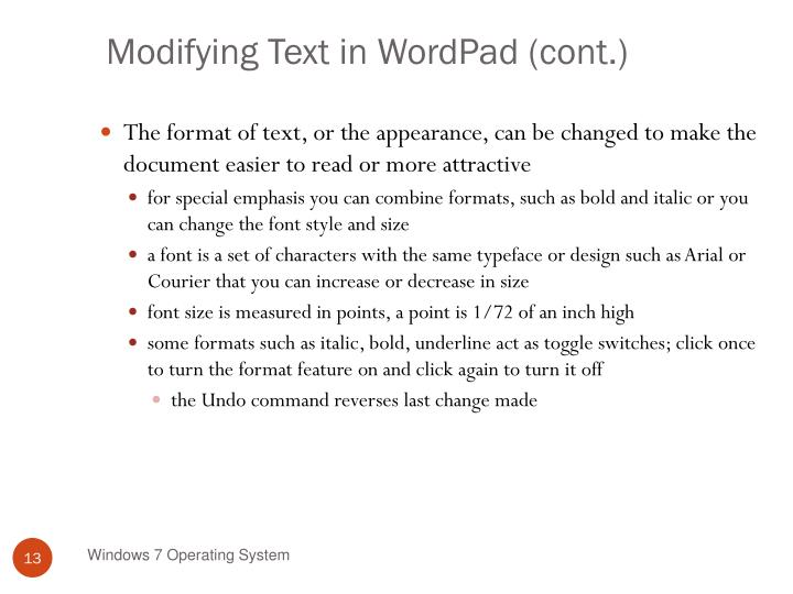 Modifying Text in WordPad (cont.)