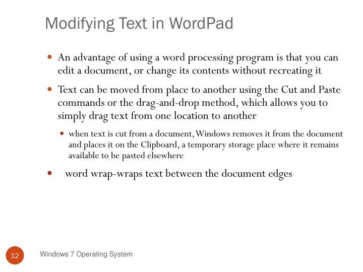Modifying Text in WordPad