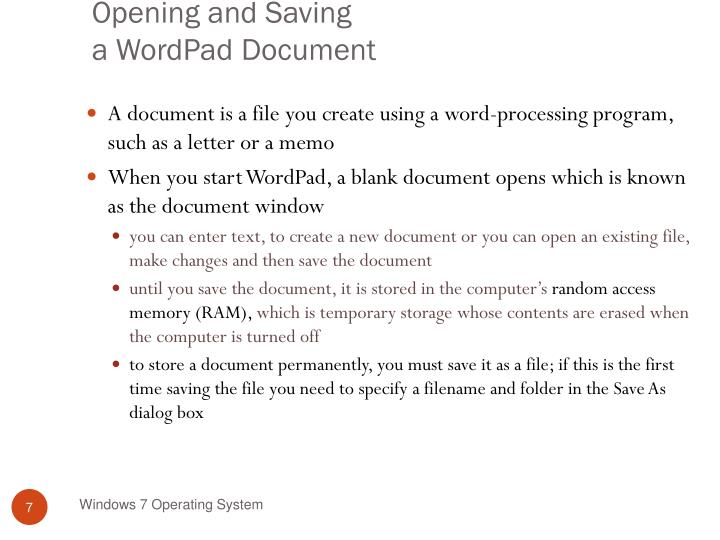 Opening and Saving