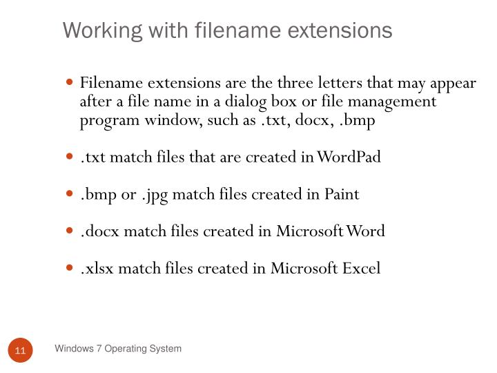 Working with filename extensions