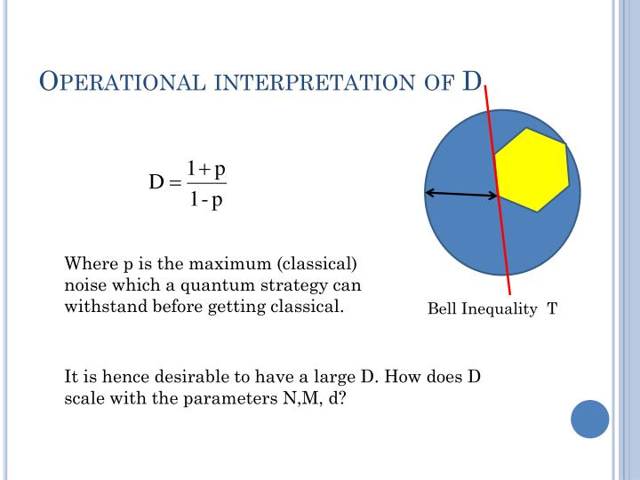 Operational interpretation of D