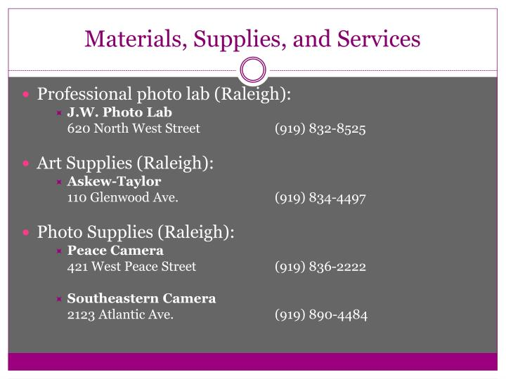 Materials, Supplies, and Services
