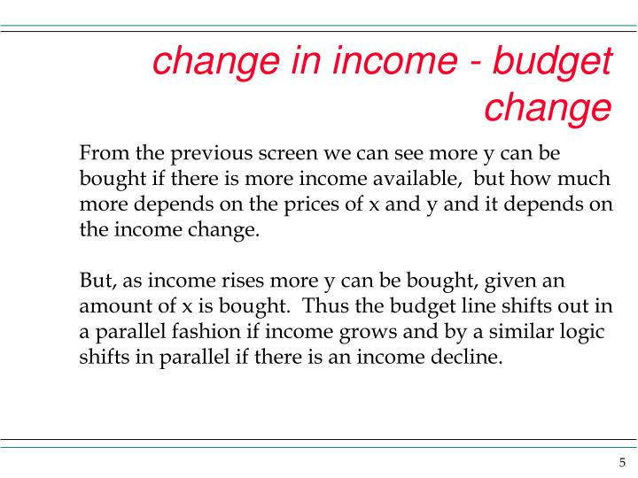 change in income - budget change